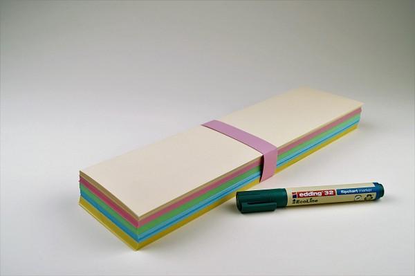 Rechteckige Moderationskarten gemischt, verschiedene Größen, 180 Blatt